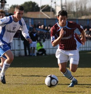 THROUGH THE GAP: Winger Dominic Merella, who made his debut for the Terras yesterday
