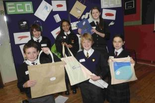ECO BAG TEAM: From left – Jed Grant, Curtis Darnell, Olivia Morris, Kyle Reynolds, Lucy Pippin and Fiona Bishop