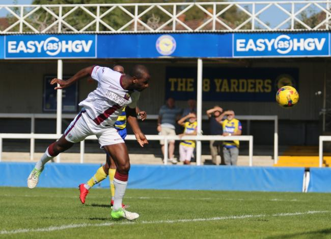 LATE CONSOLATION: Stephane Zubar headed in for Weymouth to narrow the scores at the death                                                                 Picture: MARK PROBIN