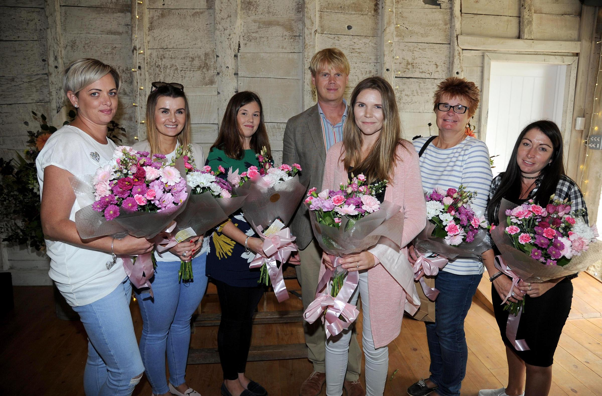 Dorset Echo wedding giveaway at Mapperton House Wedding Fair, winner Kate Fooks (who is to marry Ben Huish), front centre with Luke Montagu (Mapperton House) and finalists, 08/09/18, Picture: Finnbarr Webster/F19844