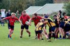 BLOWN AWAY: Puddletown, in red, were well beaten by Wimborne                                         Picture: CHRIS EDWARDS