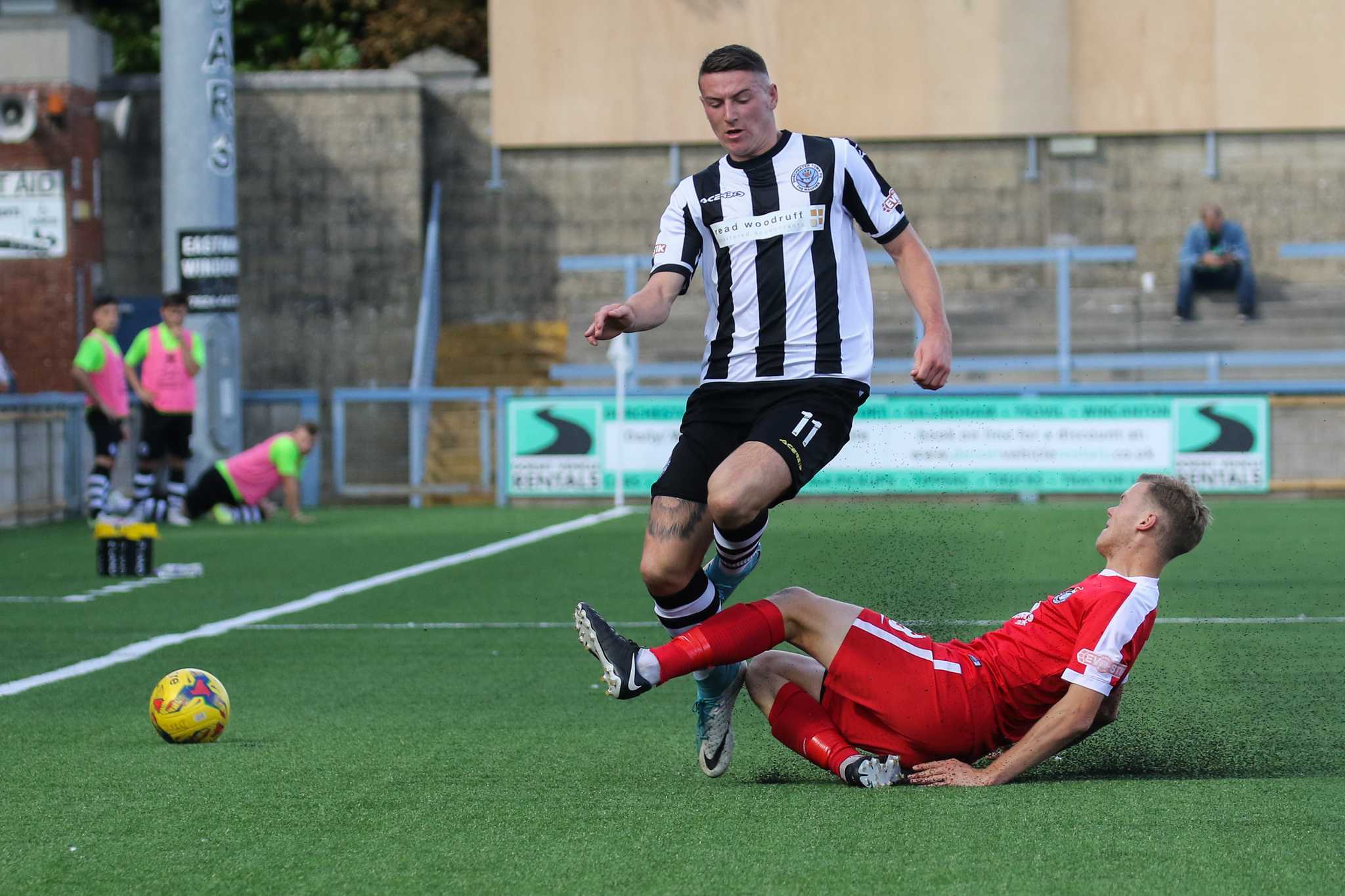 ENJOYING THE COMPETITION: Dorchester Town's Tom Blair, left            Picture: PHIL STANDFIELD