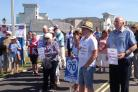 Campaigners outside Portland Hospital in July