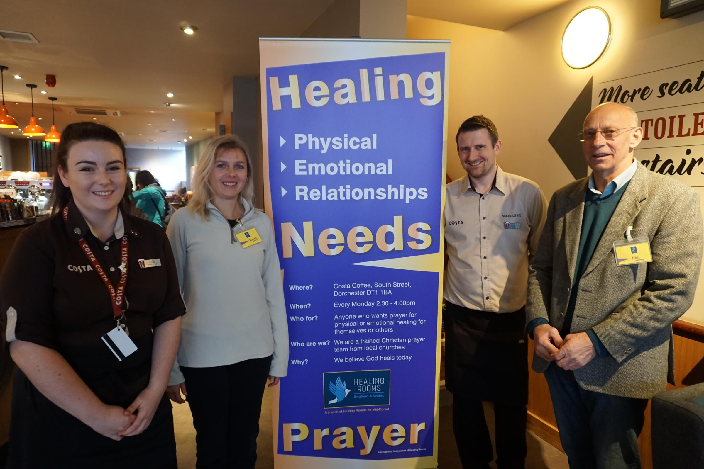 Healing Rooms Launched At Costa Coffee In Dorchester