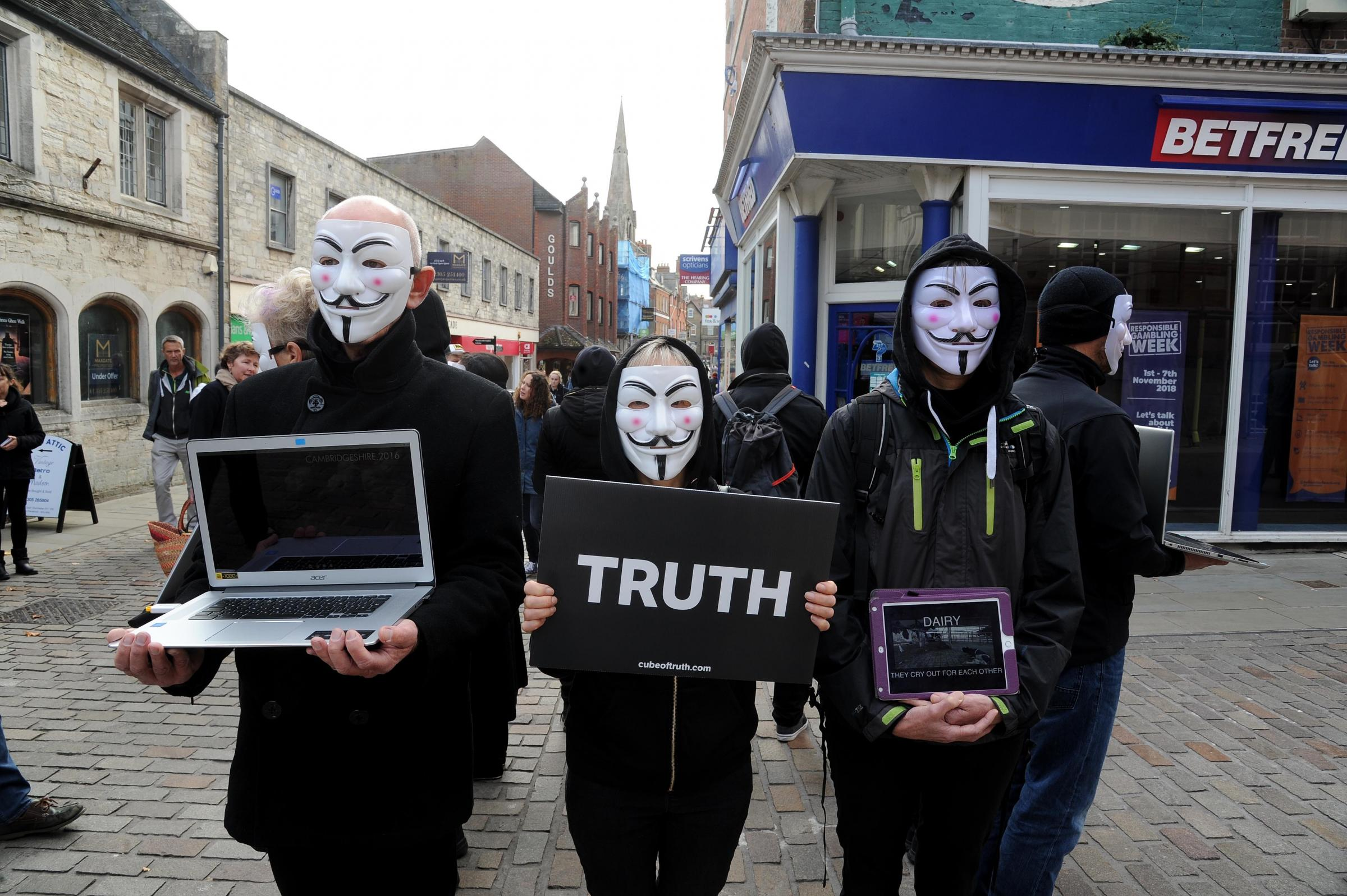 Anonymous for the Voiceless stage a vegan protest, Cube of Truth, in Dorchester, 03/11/18, Picture: FINNBARR WEBSTER/F20021