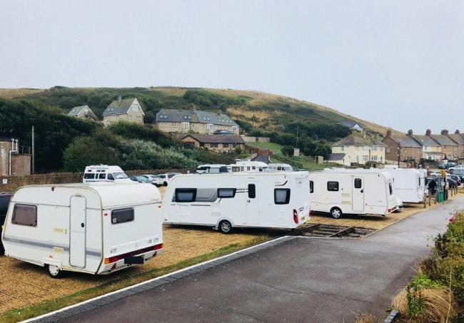 Motorhomes in the car park at West Bay