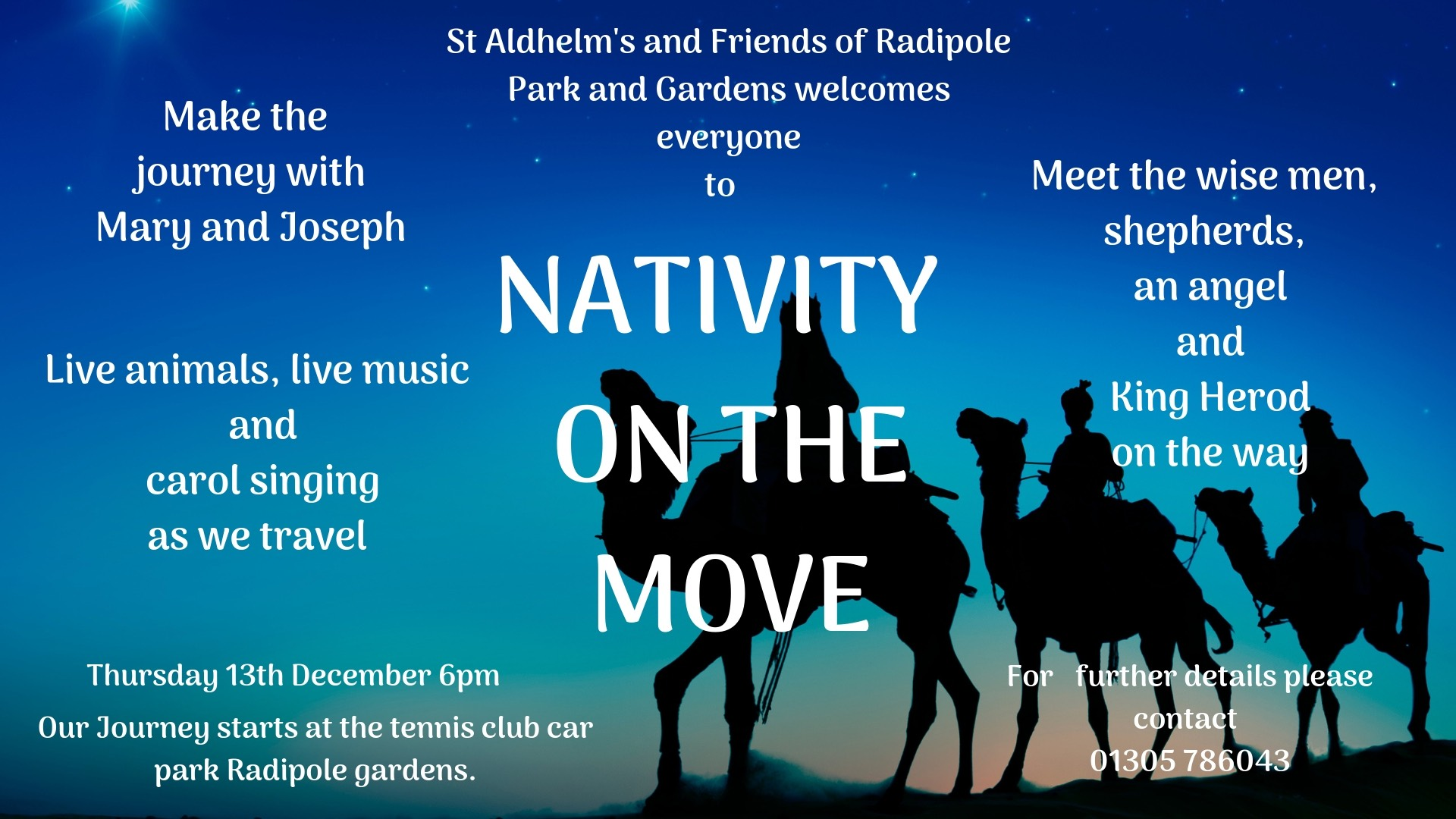 St Aldhelm's Church and Friends of Radipole Park and Gardens presents Nativity on the Move