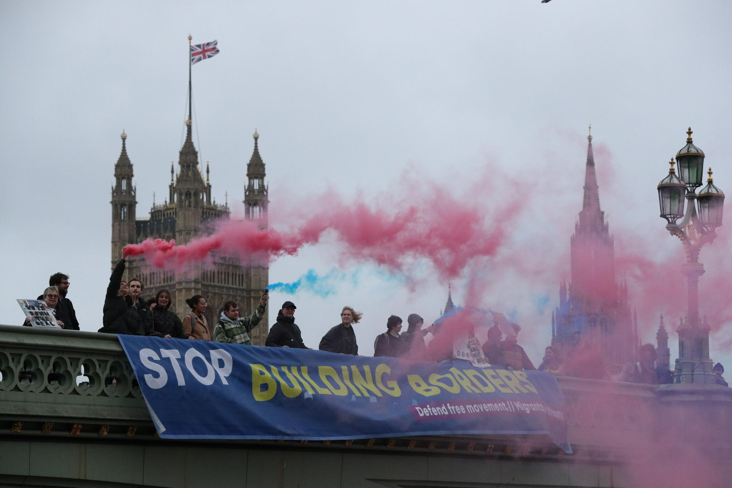 Anti Brexit protest by campaigners from Another Europe is Possible and the Labour Campaign for Free Movement groups protest on Westminster Bridge, near the Houses of Parliament in central London. PRESS ASSOCIATION Photo. Picture date: Wednesday November 2