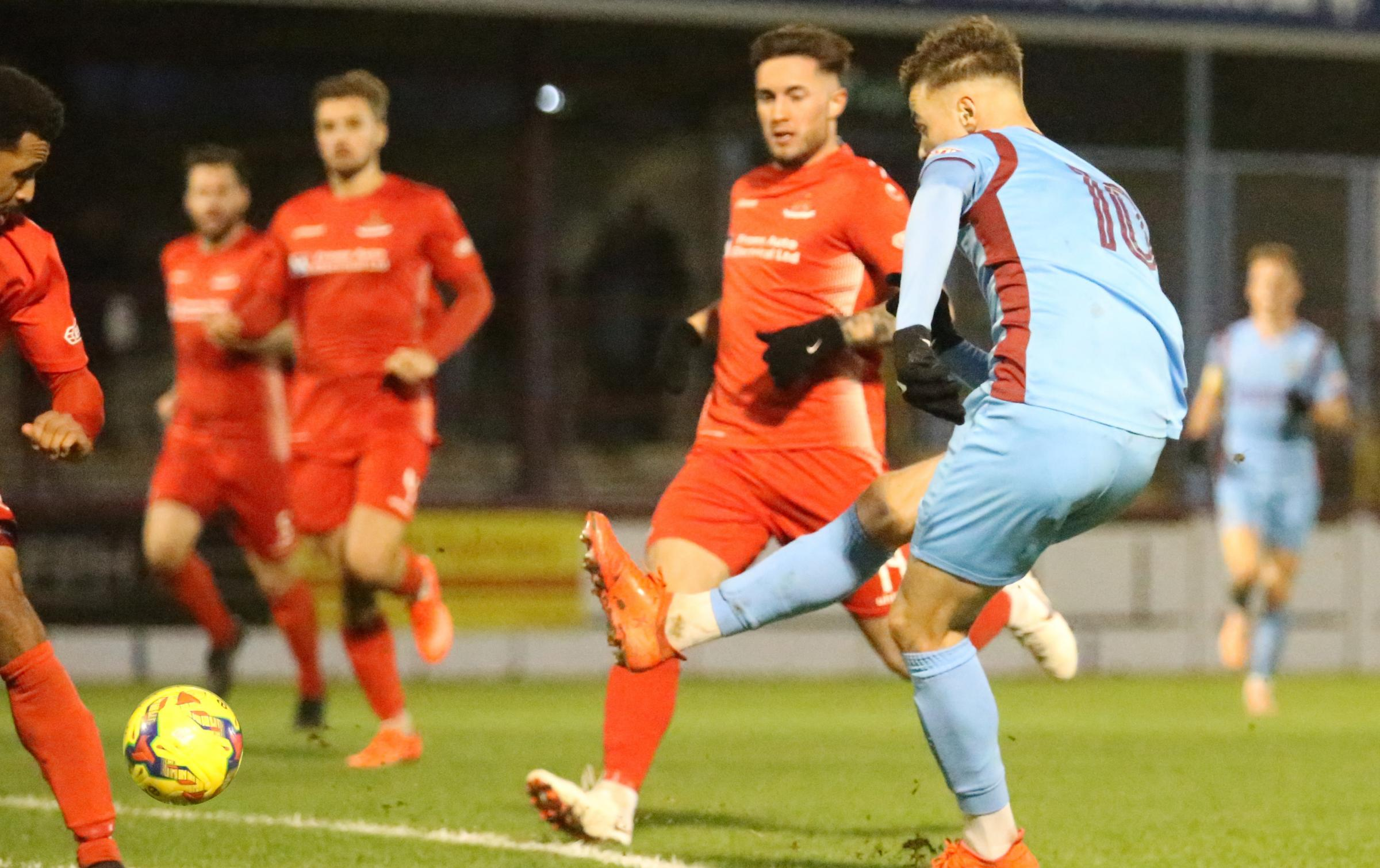 HAT-TRICK HERO: Brandon Goodship, right, struck his 17th goal in all competitions this season 				     Picture: MARK PROBIN