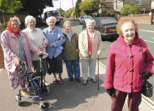 CROSSING CAMPAIGNERS: Pat Staff (front) with, from left, Doreen Beckingham, Doreen Ablett, Moira Grogono, Pam Foster and Beryl Gill