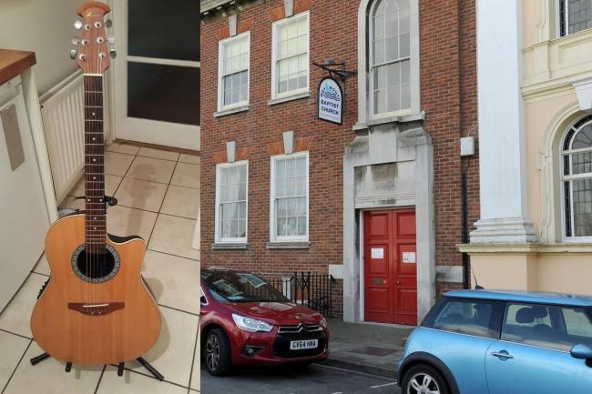 This guitar was stolen from Weymouth Baptist Church