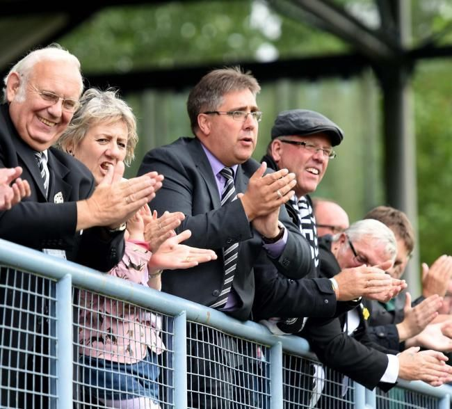 VACATING THE ROLE: Matt Lucas, centre, will step down as Dorchester chairman after five years at the Magpies' helm