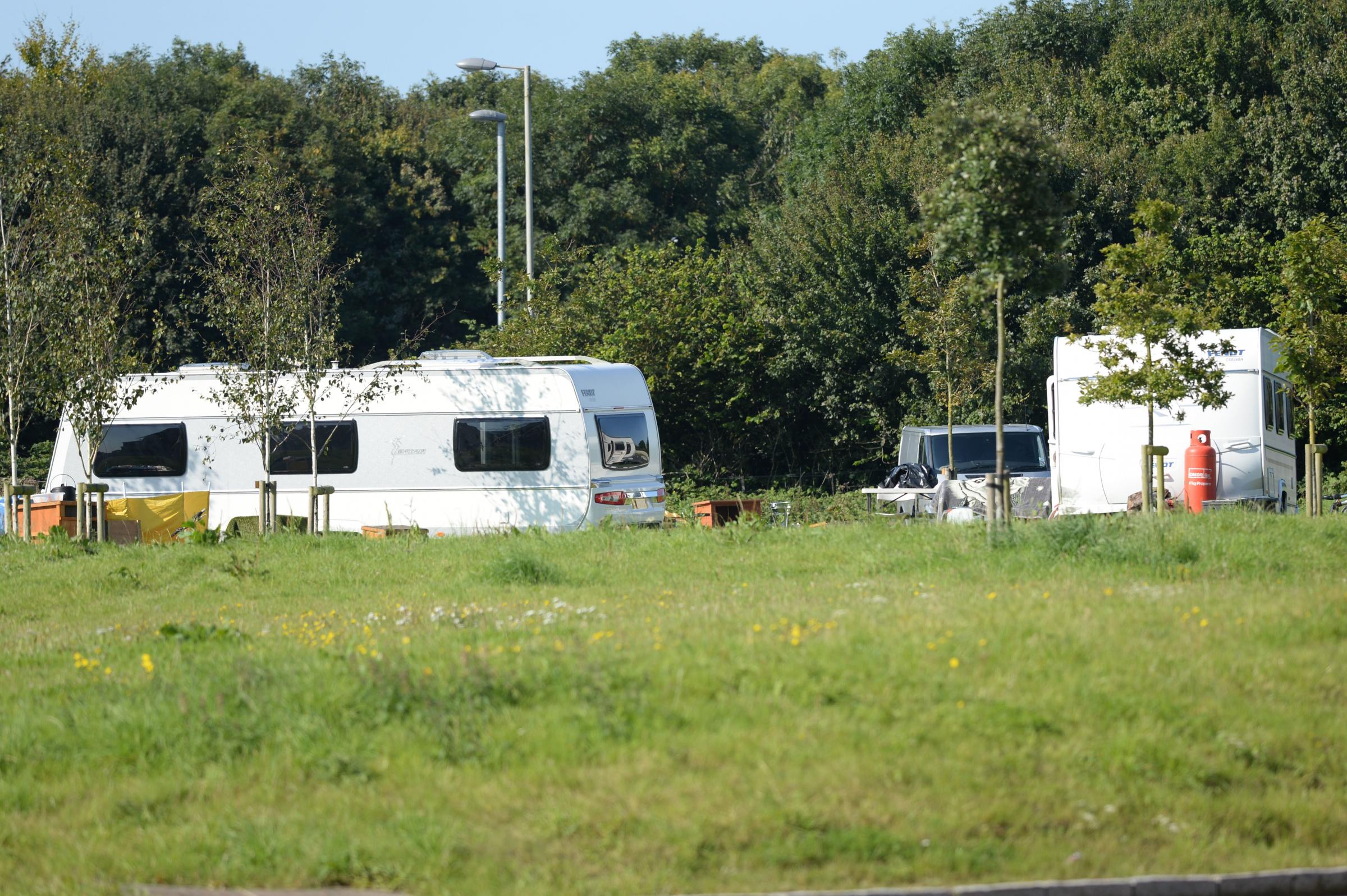 PROPOSALS: Police could get more powers to deal with illegal encampments JG17109.  07.09.2015.  Travellers camped near Monkeys Jump roundabout and Dorchester fire station.                                   Picture:JOHN GURD  JG17109.
