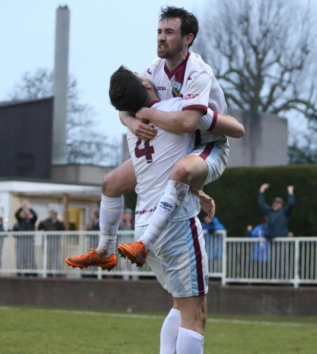 POTENT ATTACKING:  Cameron Murray celebrates Weymouth's fourth goal Picture: MARK PROBIN