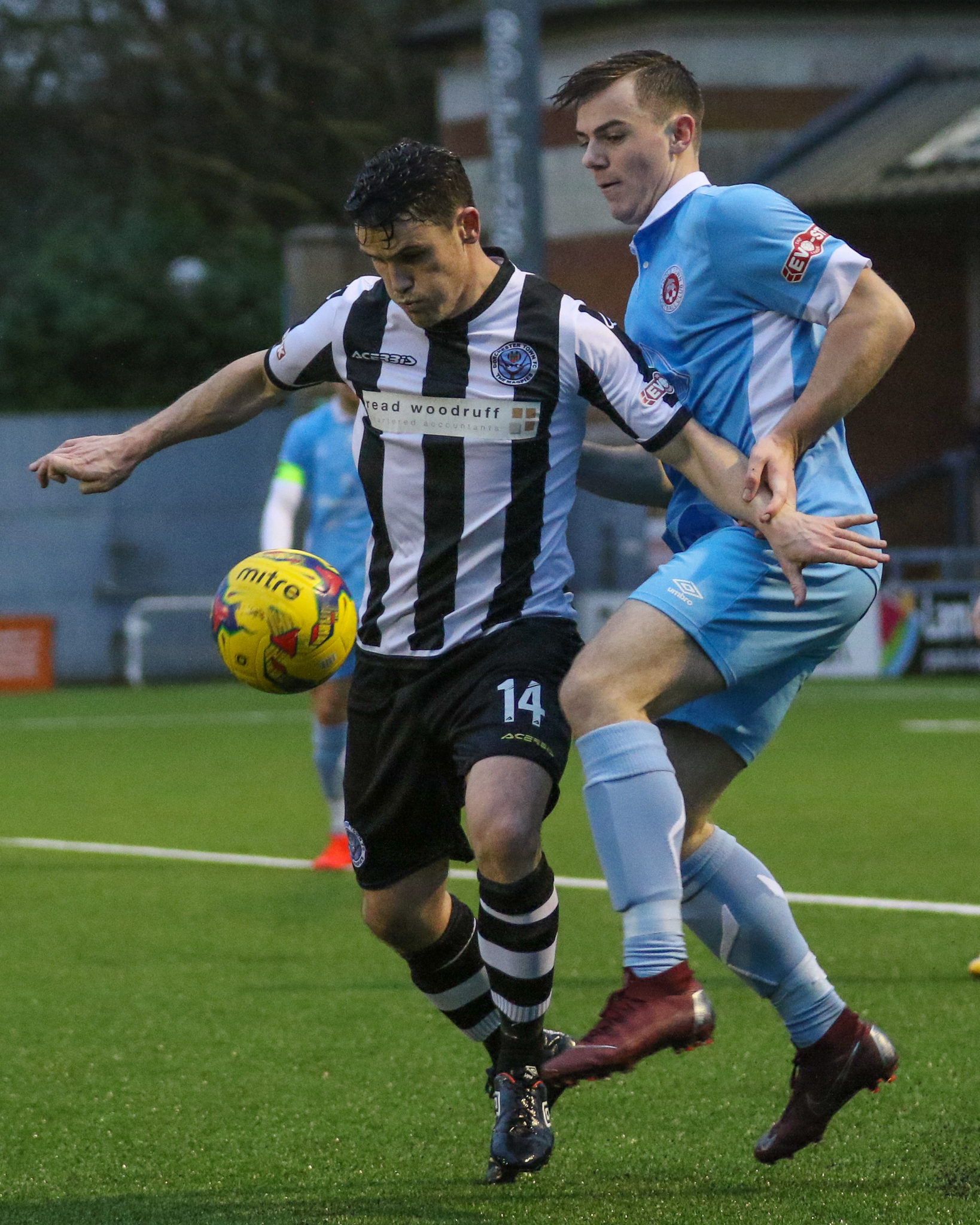 CHANCE TO SHINE: Dorchester Town striker Richard Gillespie, left           Picture: PHIL STANDFIELD