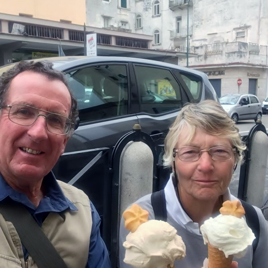 STAYING COOL: Michael and Diana Gill enjoyed ice creams on their Mediterranean Odyssey