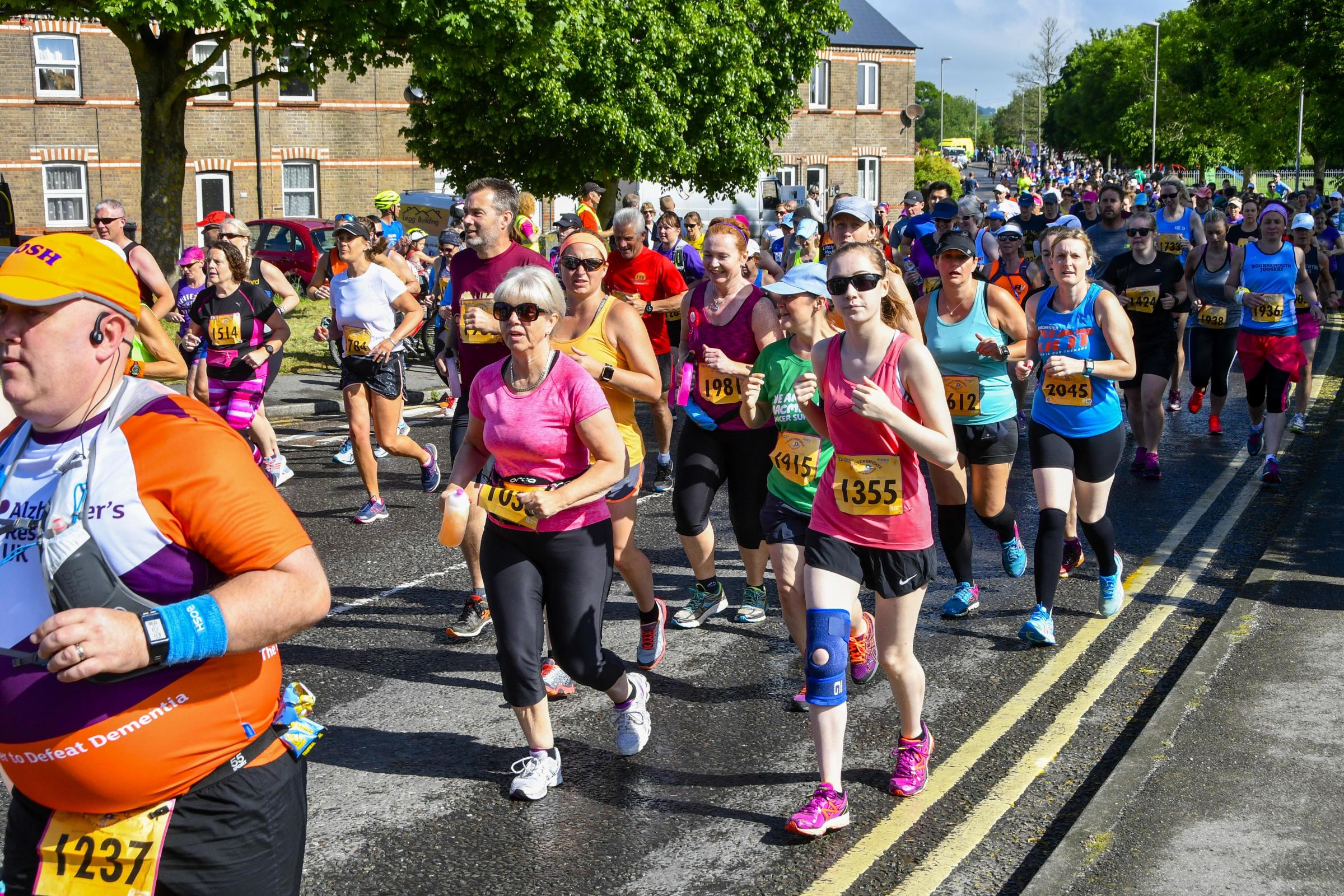 Half marathon runners on King Road during the Dorchester Marathon.  27th May 2018.  Picture Credit: Graham Hunt Photography..
