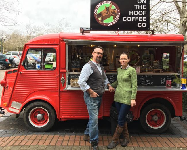 Christian Shepherd and Zeta Cuthel with Maurice, the van from which they run On the Hoof Coffee Co.