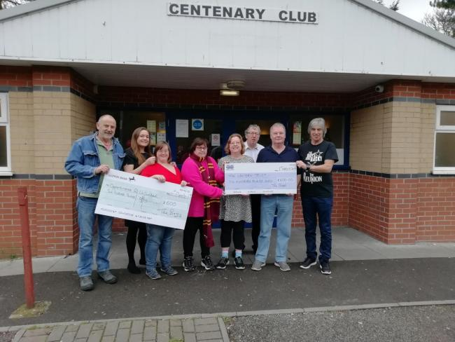 KIND GESTURE: Representatives of Opportunities RUnLimited receive a cheque for £600 from Simon Breakspear, Chris Dean and Chris Steadman at the Centenary Club in Weymouth. The Lantern Trust also received a cheque for £600  Picture: NICK HORTON