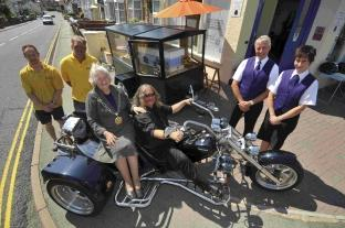 Mayor of Weymouth Anne Kenwood tries out the new trike hearse