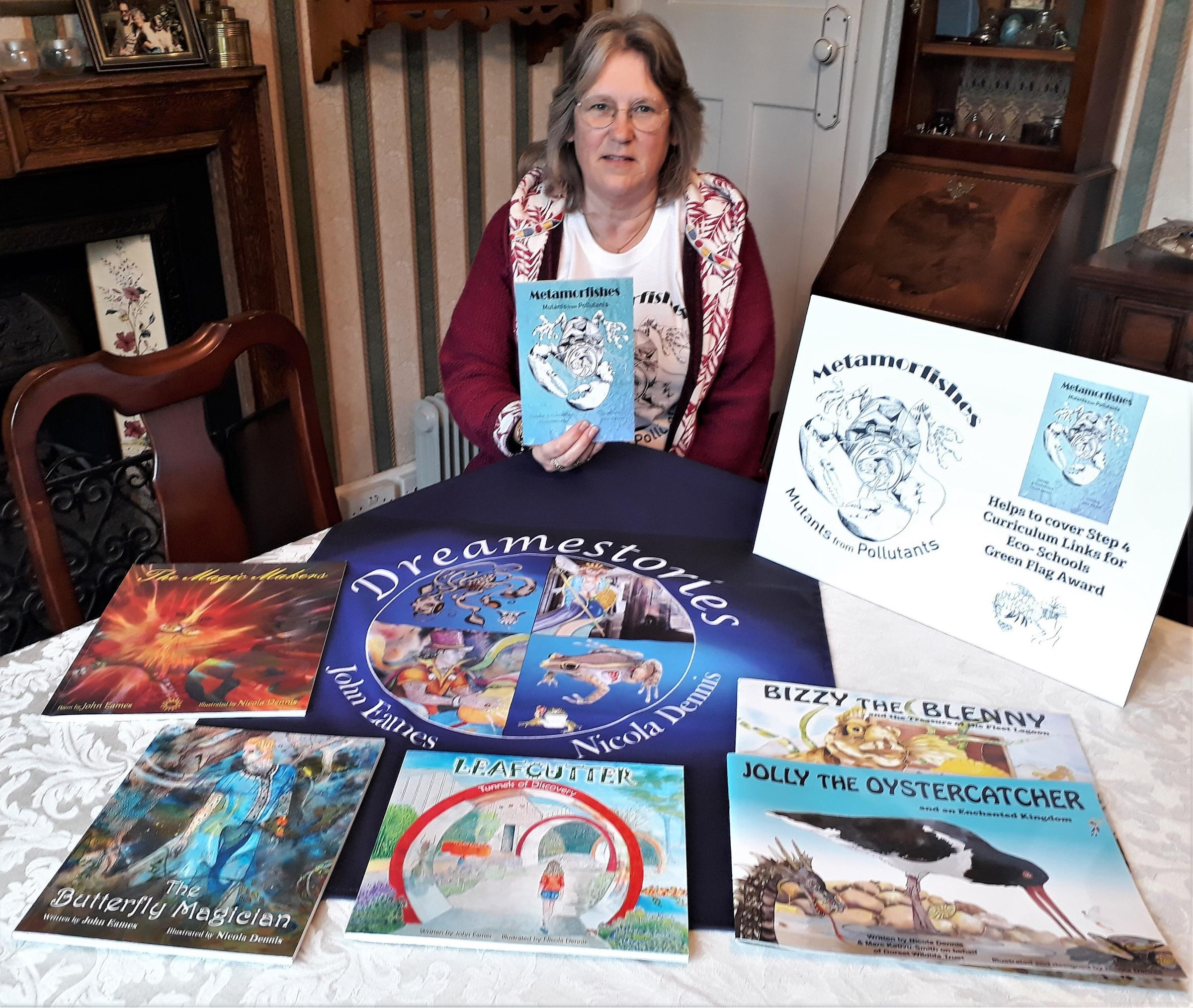 MARINE POLLUTOIN: Bridport illistrator Nicola Dennis with her new book 'Methamorfishes'