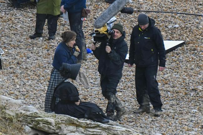 Kate Winslet filming Ammonite. Picture: Graham Hunt Photography