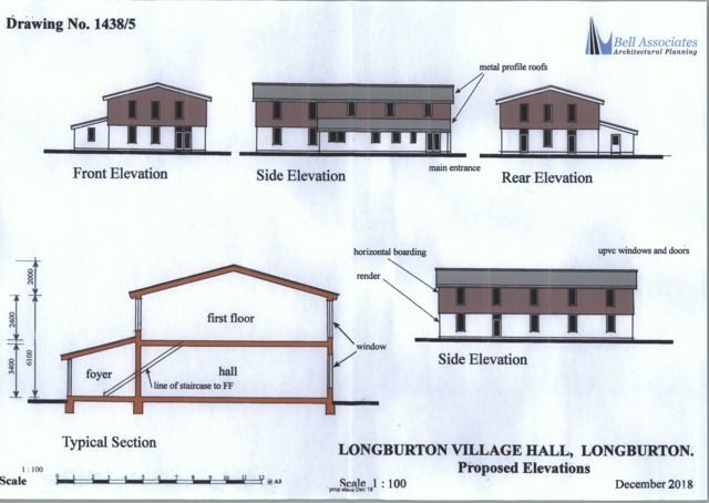 Drawing of the proposed new hall at Longburton
