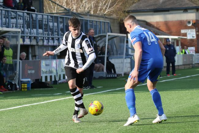 MAGPIES MOMENTS: Dom Panesar-Dower, left, was a rare positive in Dorchester's 4-1 loss to Salisbury Picture: PHIL STANDFIELD