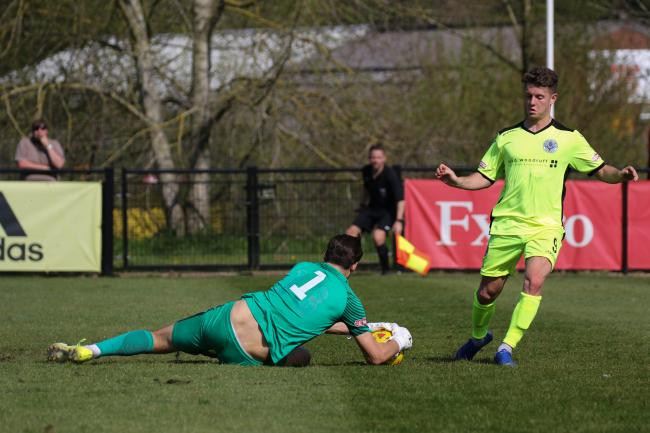 NO WAY PAST: Dorchester striker Ben Seymour, right Picture: PHIL STANDFIELD