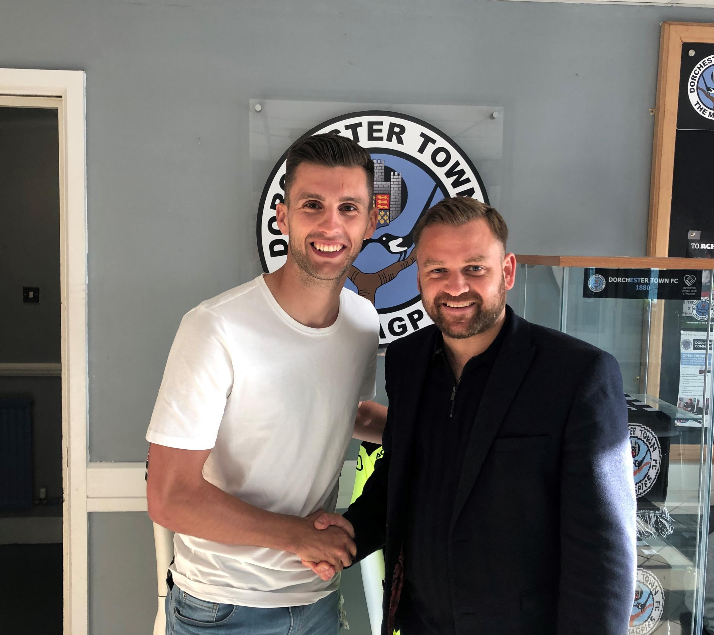 BIG COUP: Dorchester Town have signed Dan Strugnell, left, from Havant & Waterlooville Picture: DTFC