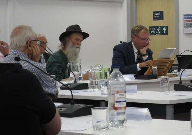 Pic - Cllr Graham Lamert ( left, hat) and Cllr Dr Jon Orrell (right) at a previous council meeting    Picture: Trevor Bevins