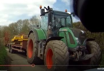 Image of tractor that failed to stop after hitting a woman's car near Gillingham