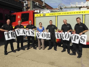 Weymouth firefighters give their backing to the Treats for Troops campaign