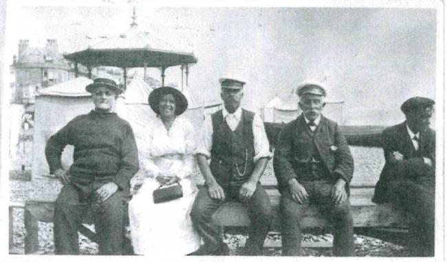 Jack Hammett (centre) with brother George on Preston Beach, they owned the rowing boats for hire. Jack lived in Preston Road, Overcombe and married Jean's great aunt Christine, a teacher at St Mary's Girls School