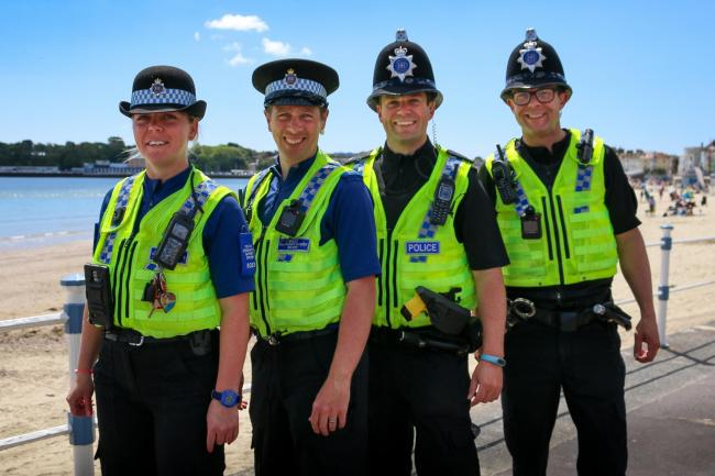 •	Weymouth NPT (L-R PCSO Alice Butler, PCSO Simon Wakely, PC Chris Meade, Sgt Sam Goom)