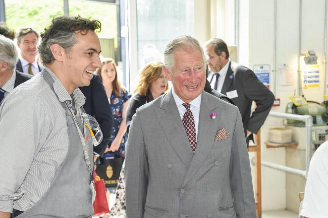 Prince Charles visits Weymouth College Stone Masonry Carving students at Middle Farm Way in Poundbury.   25th May 2018.  Picture Credit: Graham Hunt Photography.