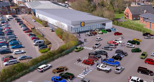 A CGI of the Lidl supermarket proposed for the Shaftesbury cattle market site