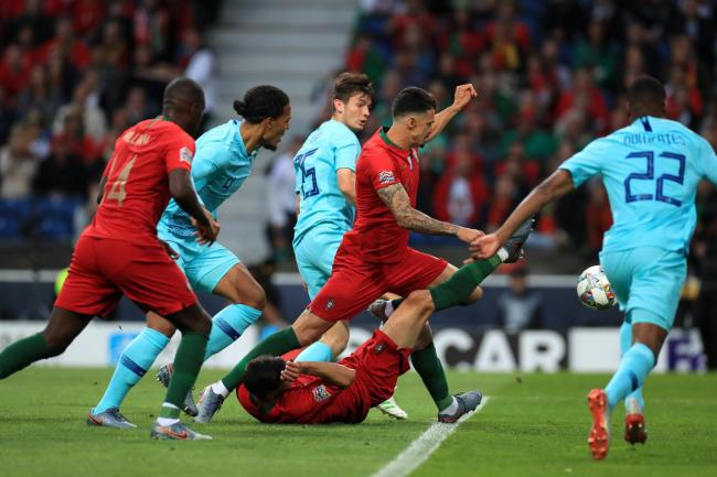 Portugal and Holland in action in the Nations League final